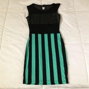Sexy leather striped dress